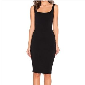 Bobi Black Open Back Midi Dress